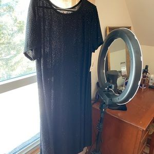 LuLaRoe black sparkly Carly dress NWT